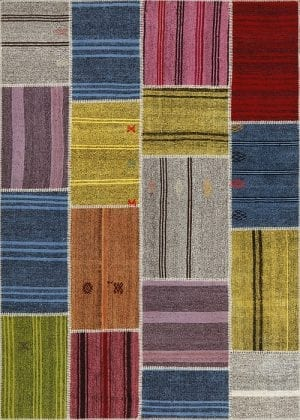 Vloerkleed Patch Collection - 6 - 250 Nieuw - Handgeweven Patchwork-tapijt. Samenstelling: 50% geiten wol + 50% katoen. Rug (gelijmd en genaaid): 100% katoen. Indien niet in voorraad is de levertijd circa 5 weken. Maatwerk mogelijk.