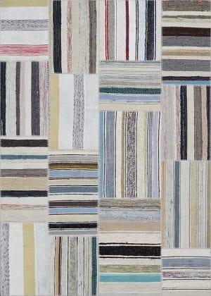 Vloerkleed Patch Collection - 8 - 301 Nieuw - Handgeweven Patchwork-tapijt. Samenstelling: 80% katoen + 10% wol + 10% geiten wol. Rug (gelijmd en genaaid): 100% katoen. Indien niet in voorraad is de levertijd circa 5 weken. Maatwerk mogelijk.