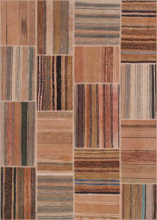 Vloerkleed Patch Collection - 8 - 305 Nieuw - Handgeweven Patchwork-tapijt. Samenstelling: 80% katoen + 10% wol + 10% geiten wol. Rug (gelijmd en genaaid): 100% katoen. Indien niet in voorraad is de levertijd circa 5 weken. Maatwerk mogelijk.