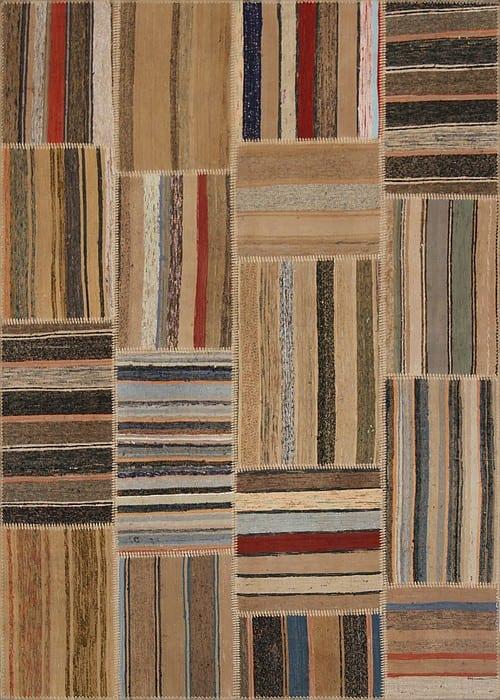 Vloerkleed Patch Collection - 8 - 307 Nieuw - Handgeweven Patchwork-tapijt. Samenstelling: 80% katoen + 10% wol + 10% geiten wol. Rug (gelijmd en genaaid): 100% katoen. Indien niet in voorraad is de levertijd circa 5 weken. Maatwerk mogelijk.