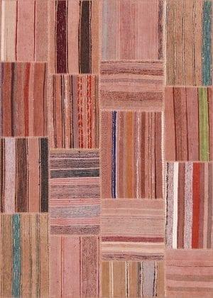 Vloerkleed Patch Collection - 8 - 310 Nieuw - Handgeweven Patchwork-tapijt. Samenstelling: 80% katoen + 10% wol + 10% geiten wol. Rug (gelijmd en genaaid): 100% katoen. Indien niet in voorraad is de levertijd circa 5 weken. Maatwerk mogelijk.