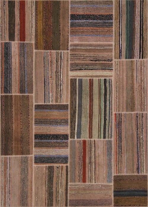 Vloerkleed Patch Collection - 8 - 312 Nieuw - Handgeweven Patchwork-tapijt. Samenstelling: 80% katoen + 10% wol + 10% geiten wol. Rug (gelijmd en genaaid): 100% katoen. Indien niet in voorraad is de levertijd circa 5 weken. Maatwerk mogelijk.