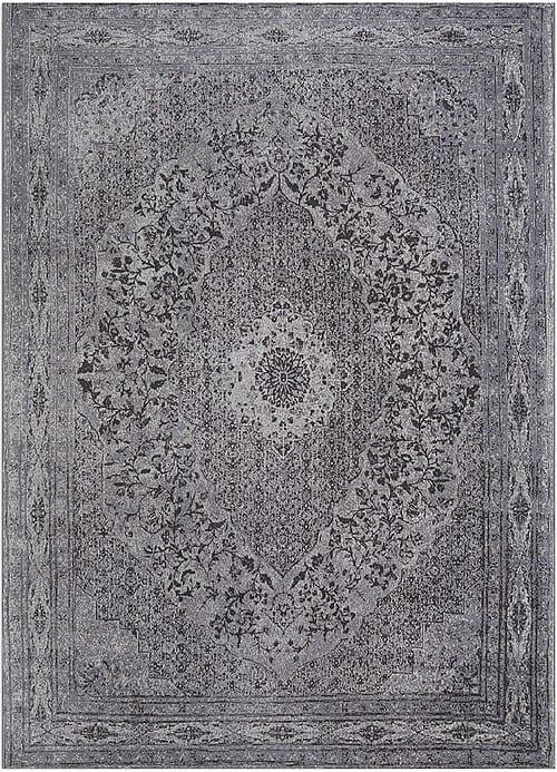 Vloerkleed Tabriz Antraciet J-98601 - Geweven Vintage tapijt. Poolgarens: 100% katoen. Tapijt is voorzien van verstevigende backing.