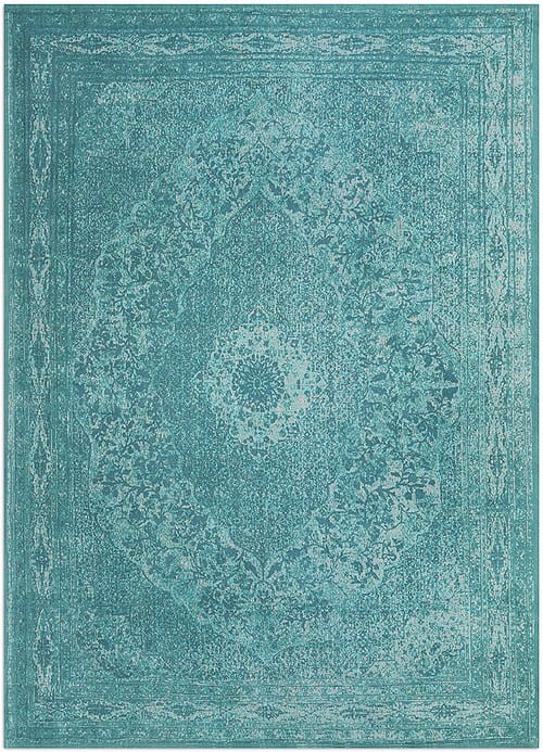 Vloerkleed Tabriz Aqua J-98533 - Geweven Vintage tapijt. Poolgarens: 100% katoen. Tapijt is voorzien van verstevigende backing.