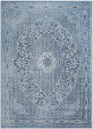 Vloerkleed Tabriz Blauw J-98536 - Geweven Vintage tapijt. Poolgarens: 100% katoen. Tapijt is voorzien van verstevigende backing.