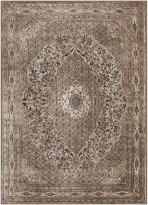 Vloerkleed Tabriz Bruin J-98527 - Geweven Vintage tapijt. Poolgarens: 100% katoen. Tapijt is voorzien van verstevigende backing.