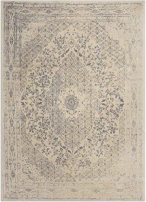 Vloerkleed Tabriz Geel J-98607 - Geweven Vintage tapijt. Poolgarens: 100% katoen. Tapijt is voorzien van verstevigende backing.