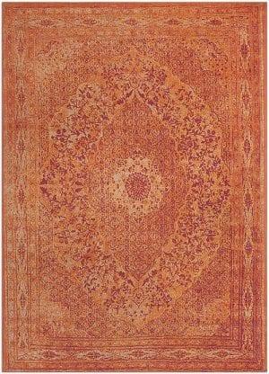Vloerkleed Tabriz Oranje J-98530 - Geweven Vintage tapijt. Poolgarens: 100% katoen. Tapijt is voorzien van verstevigende backing.