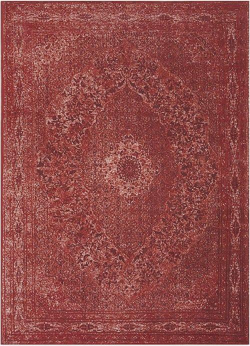 Vloerkleed Tabriz Rood J-98611 - Geweven Vintage tapijt. Poolgarens: 100% katoen. Tapijt is voorzien van verstevigende backing.
