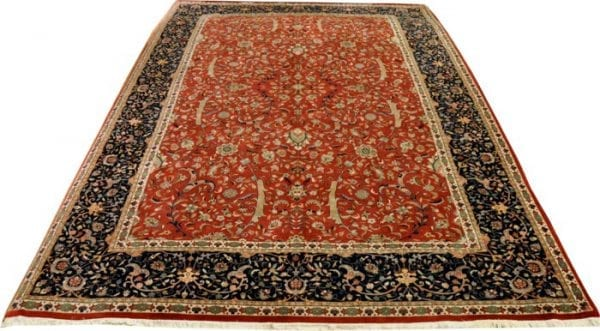 Vloerkleed Tabriz 2815 - Mooi all-over design. Oud rood met donker blauwe rand.