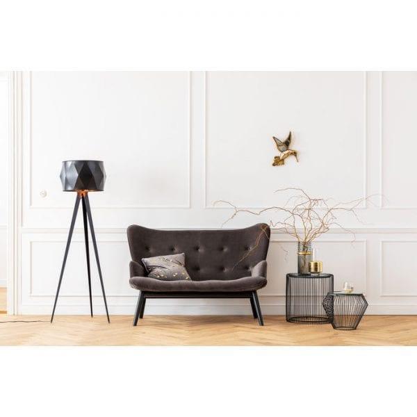 Kare Design Black Vicky Velvet Grey bank 84428 - Lowik Meubelen