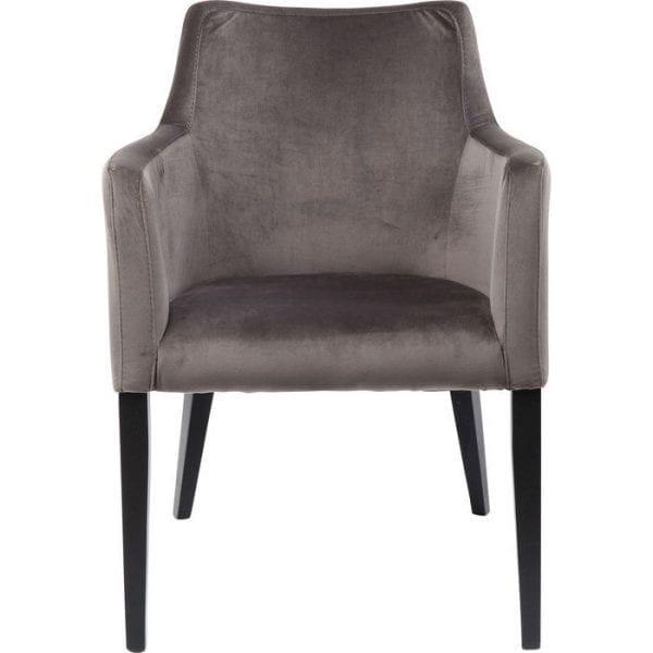 Kare Design Armstoel Black Mode Velvet Grey 83580 Deze fauteuil is een echte klassieker geworden. Zo elegant als een cocktailstoel, net zo comfortabel als een ontspannen fauteuil en heel huiselijk en uitnodigend dankzij de zachte, fluweelachtige bekleding. De comfortabele armleuningen, die zachtjes in de rugleuning worden samengevoegd, staan garant voor vele gezellige uren, ongeacht of u deze gebruikt als een eetkamerstoel, een bureaustoel of een gaststoel in de woonkamer. - Lowik Meubelen