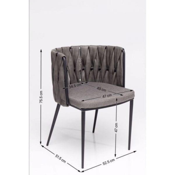 Kare Design Armstoel Cheerio incl. Kussen 83078 Stedelijk grijs In uw thuisbar, in de keuken of aan de eettafel - de gestoffeerde stoel Cheerio creëert een ongedwongen stedelijke sfeer, waar u hem ook neerzet. Dankzij de moderne, steengrijze kleur versmelt hij stijlvol met elke ambiance. De aantframekelijkste kenmerken zijn comfortabele stoelen, doordachte details en dynamische lijnen. De halfronde, fijngeweven rugleuning is bijzonder aantframekelijk. Cheerio is ook verkrijgbaar als barkruk met een hoger zitvlak. - Lowik Meubelen