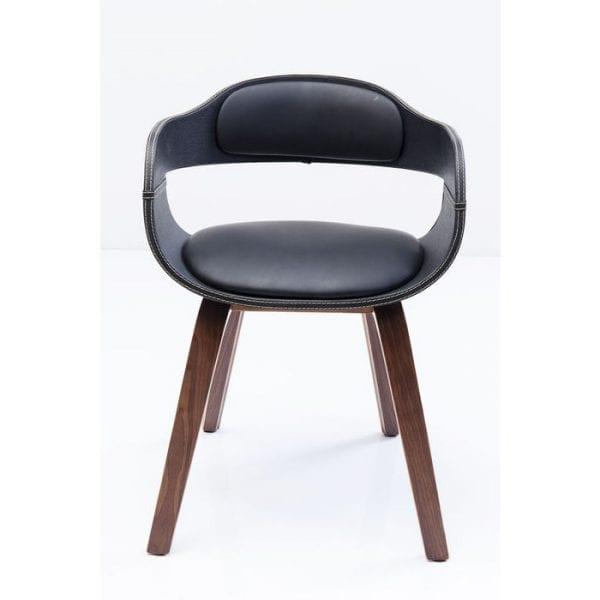 Kare Design Armstoel Costa Walnut 78581 Stoel: aristocratische elegantie in zwart en walnoot. In de Costa Walnut-stoel vormen zwart en een sterke bruine kleur een charmant contrast. De comfortabele zwarte stoel met zijn zwarte armleuningen en rugleuning wordt ondersteund door vier pootjes van walnoot. Curvy contouren karakteriseren het elegante ontwerp van deze stoel, waarin het formele idioom een discrete toon heeft. Zoveel elegantie met een kalm understatement is goed geschikt voor vergaderruimtes met een klassiek mooie ambiance, maar ook voor woonkamers die een gecultiveerd comfort uitstralen. - Lowik Meubelen