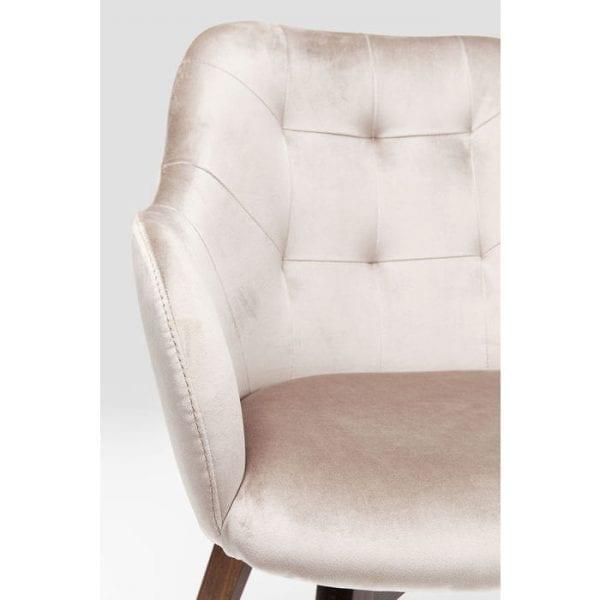 Kare Design Armstoel Lady-Stitch Velvet Grey 83410 Is een gestoffeerde stoel als deze niet primair een teken van gastvrijheid? Dit geldt vooral voor de Lady Samt Stitch: met zijn glinsterende hoes, zachte bekleding en donker gebeitste beukenhouten poten is hij zowel uitnodigend als comfortabel. De stoelen van de Lady-serie zijn verkrijgbaar in verschillende versies. - Lowik Meubelen