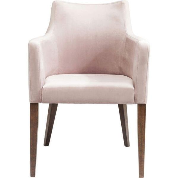 Kare Design ArmstoelMode Velvet Mauve 82468 Een comfortabele gestoffeerde stoel met een zachte polyester fluwelen hoes. Past op een bijzonder stijlvolle manier de eetkamer en wachtruimtes aan. Het model kan eenvoudig worden geïntegreerd in elke stijl van inrichting. Verdere versies beschikbaar. Gemaakt in de EU. - Lowik Meubelen