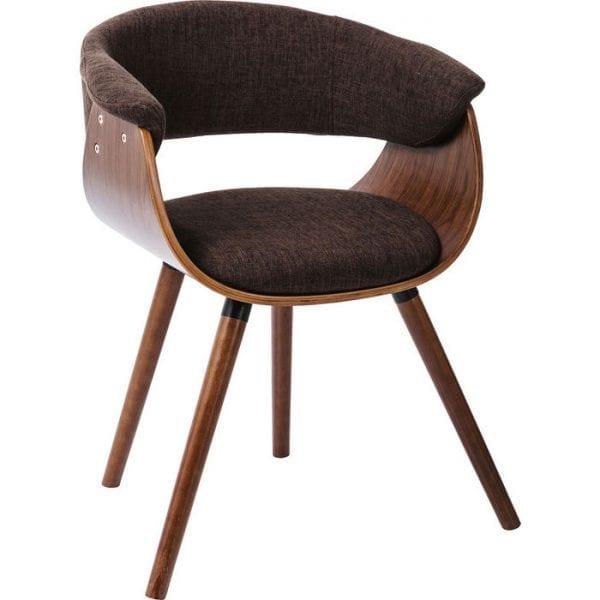 Kare Design Armstoel Monaco Schoko 81834 Deze elegante gestoffeerde stoel maakt indruk met zijn retro charme en individuele look. De diagonaal geplaatste poten, het elegante kleurontwerp en de gebogen zitschaal die direct overgaat in de armleuningen zijn bijzonder aantframekelijk. De zachte bekleding zorgt voor een hoog zitcomfort. Past ideaal in moderne maar ook retro-geïnspireerde faciliteiten. - Lowik Meubelen