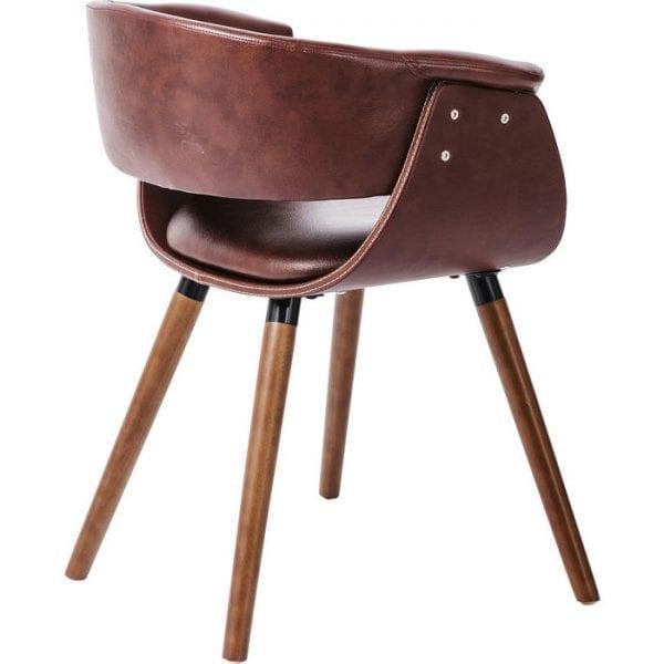Kare Design Armstoel Nougat 81837 Moderne retro. Deze comfortabele stoel oogt luxueus en voortreffelijk. Zitting, rugleuning en zitschaal zijn bekleed met fijn bruin kunstleer. Uitgebreide details zoals witte contraststiksels. Een ingenieus ontwerp - ideaal om te zitten. - Lowik Meubelen