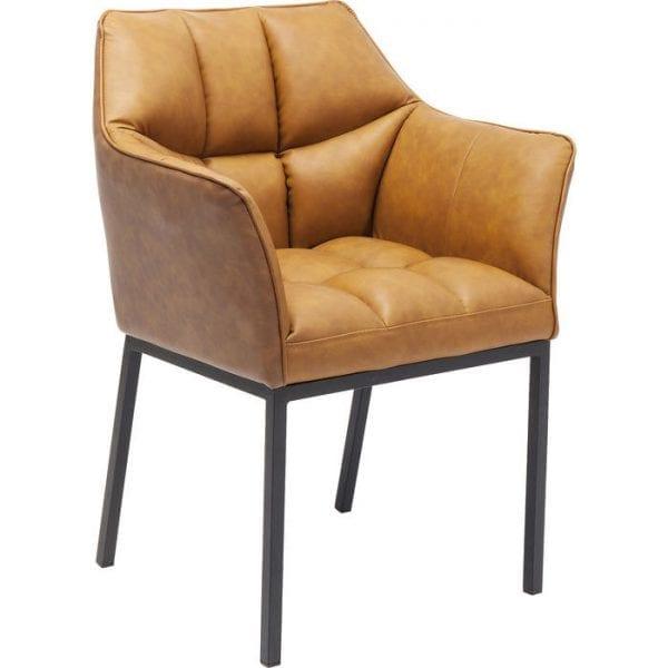 Kare Design Armstoel van Thinktank Brown 83640 Thinktank bewijst dat de bekleding niet pluche hoeft te zijn. Een stijlvol vierkant quiltpatroon en licht uitlopende, gevoerde armleuningen geven het een moderne look. De zachte toffee bruine en warme lederen look past goed bij koele, glanzende oppervlakken. Behalve matzwarte, warme aardetinten is deze stoel bijzonder effectief bij goud en donker hout. Als eetkamerstoel, in het kantoor of in de wachtkamer, voelt iedereen die op een Thinktank zit comfortabel. En comfortabel zitten leidt tot positieve gedachten. - Lowik Meubelen