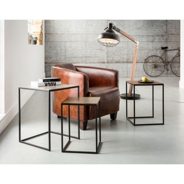 Kare Design Loft Square Vintage (3/Set) 41x41cm bijzettafel 78777 - Lowik Meubelen