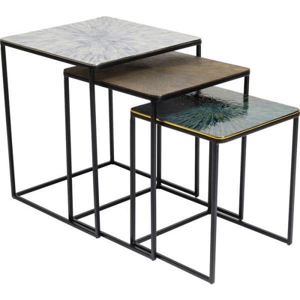 Kare Design Ray Square (3/Set) bijzettafel 84788 - Lowik Meubelen