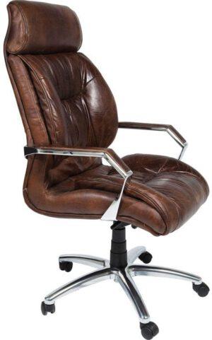 Kare Design Bureaustoel Cigar Lounge 75984 Een exclusieve lederen fauteuil met een hoge feel-good-factor - Of het nu gaat om een aangenaam ingerichte werkkamer of modieus georganiseerd in een modern kantoor, de Cigar Lounge-draaistoel is geschikt voor een groot aantal toepassingen. Het zal iedereen een goed gevoel geven. Een interessante mix van een bewoond oppervlak en down-to-earth stoffen! Voor een perfect zitcomfort kan de hoogte van deze fauteuil worden aangepast van 113 tot 119 cm. Zithoogte: 49-54 cm. Aluminium voet, lederen bekleding. Cigar Lounge is ook beschikbaar als een serie. Deze fauteuil is het beste bewijs dat het bedrijfs- of thuiskantoor een gezellige en comfortabele sfeer kan krijgen! - Lowik Meubelen