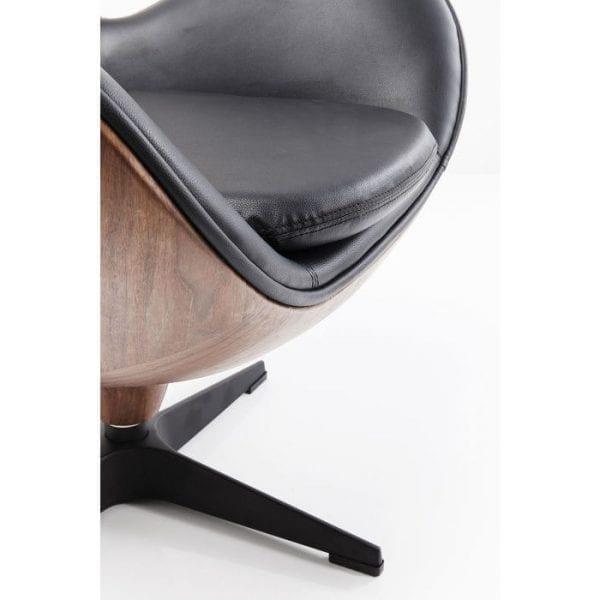 fauteuil Fauteuil Loung Black Walnut Kare Design fauteuils - 83346 - Lowik Meubelen