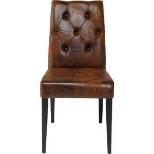 Kare Design Eetstoel Casual Buttons Vintage 77806 Een elegante gestoffeerde stoel in de vintage-lederlook - de met Toevallige knopen beklede stoel maakt een sterke indruk met zijn fijne vintage uitstraling. De cover met zijn elegante used-lederen styling zorgt ervoor dat deze stoel zit in zijn meest charmante vorm! De Chesterfield-bekleding op de rugleuning geeft het een vleugje exclusiviteit, terwijl de poten van geschilderd beukenhout het ontwerp met succes afronden. De bekleding op de rugleuning en de zitting biedt overtreffend zitcomfort. Ook beschikbaar in andere versies. - Lowik Meubelen