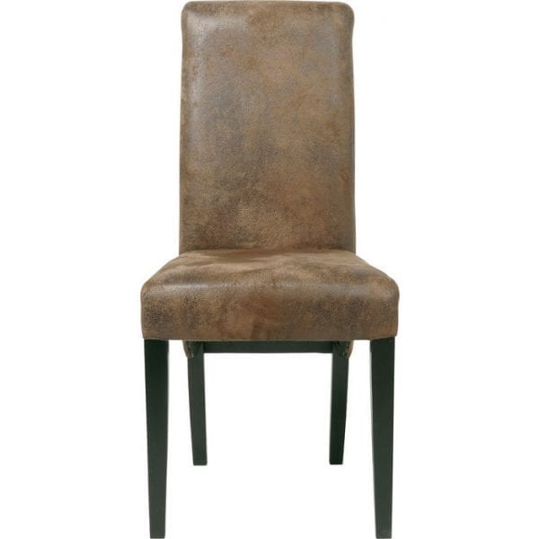 Kare Design Eetstoel Chiara Vintage 73221 Een elegante stoel in de vintage look - een KARE-klassieker, deze keer in de modieuze, gebruikte stijl. De vintage bekleding in lederlook in een warme tint lichtbruin geeft het een natuurlijke uitstraling. Het strakke ontwerp ziet er echt speciaal uit met zijn licht gebogen rugleuning. Even populair bij de eettafel en als een op zichzelf staand meubelstuk! In combinatie met de robuuste bekleding biedt de hoge rugleuning overtreffend zitcomfort. Ontwerp: Pete Polar. - Lowik Meubelen