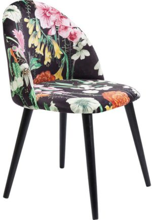 Kare Design Eetstoel Flores 83965 Of het nu op behang is of als print op decoratieve kussens: bloemmotieven zijn een sterke favoriet bij alle interiorista's. Dit komt deels omdat ze zo heerlijk romantisch zijn en tegelijkertijd een heel hedendaagse indruk kunnen maken - zoals in het geval van deze stoel. - Lowik Meubelen