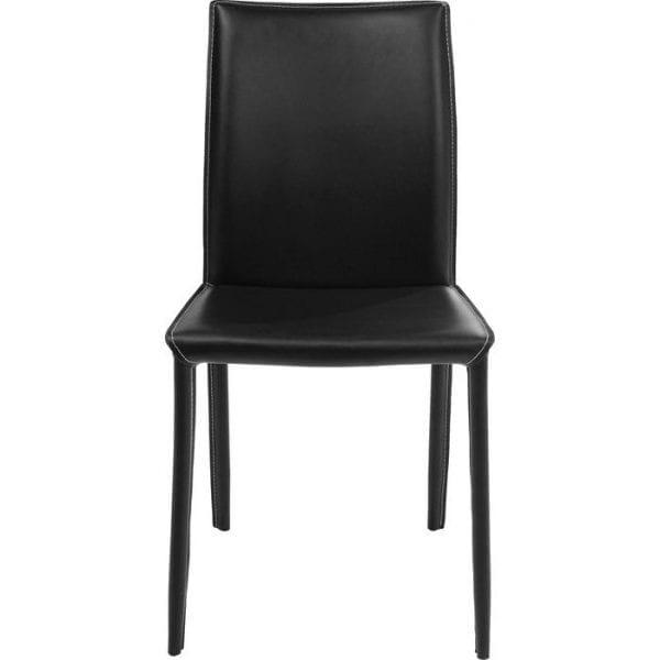 Kare Design Eetstoel Milano Black 74185 Lederen esthetiek in zwart - Deze stoel is voorzien van onopgesmukte, strakke lijnen. In zijn ingetogen ontwerp is het tijdloos mooi, nodigt het gasten uit op de tafel met de belofte van een comfortabele stoel. Hoogwaardige afwerking met een zwart lederen hoes van boven naar beneden geeft de Milano-stoel een exclusieve uitstraling. De matzwarte look biedt een reeks stijlvolle combinaties en past zich harmonieus aan aan moderne meubelconcepten, terwijl het een eigentijdse touch toevoegt aan meer traditionele inrichtingsstijlen. - Lowik Meubelen