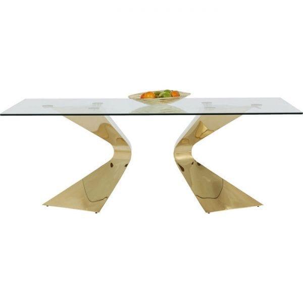 tafel Tafel Gloria Gold 200x100cm Kare Design tafels - 81543 - Lowik Meubelen