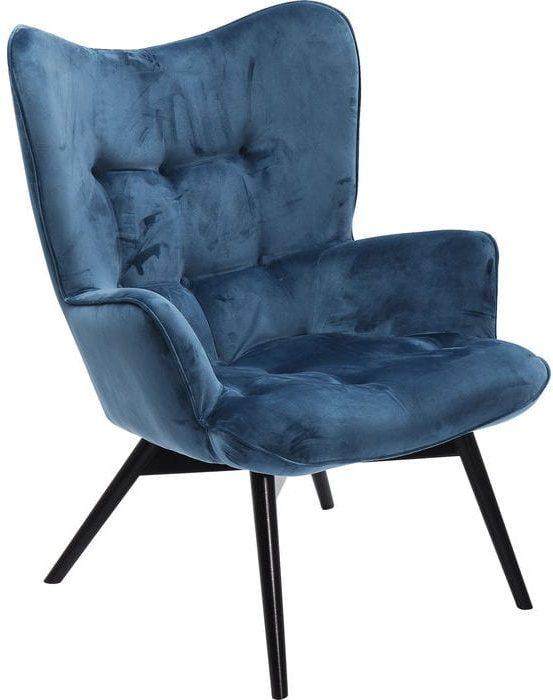 fauteuil Fauteuil Black Vicky Velvet Bluegreen Kare Design fauteuils - 82609 - Lowik Meubelen