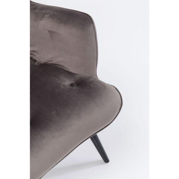 fauteuil Fauteuil Black Vicky Velvet Grey Kare Design fauteuils - 82608 - Lowik Meubelen