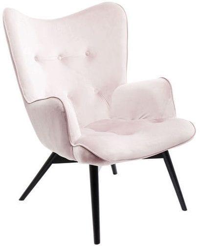 fauteuil Fauteuil Black Vicky Velvet Mauve Kare Design fauteuils - 82610 - Lowik Meubelen