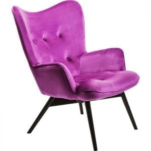 fauteuil Fauteuil Black Vicky Velvet Purple Kare Design fauteuils - 82662 - Lowik Meubelen