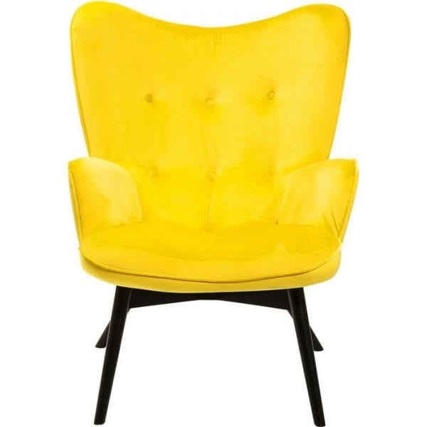 fauteuil Fauteuil Black Vicky Velvet Yellow Kare Design fauteuils - 82661 - Lowik Meubelen