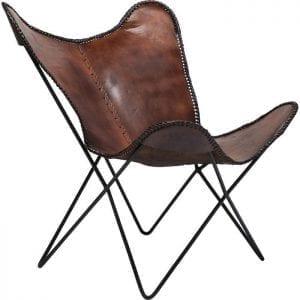 fauteuil Fauteuil Butterfly Brown Econo Kare Design fauteuils - 79823 - Lowik Meubelen