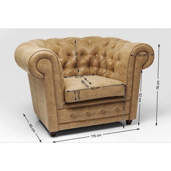 Kare Design Cambridge Vintage Econo fauteuil 43741 - Lowik Meubelen