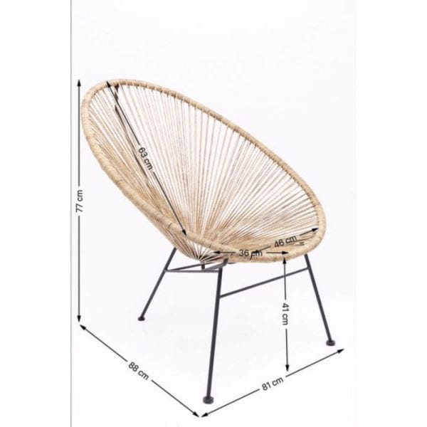 fauteuil Fauteuil Spaghetti Nature Kare Design fauteuils - 82903 - Lowik Meubelen