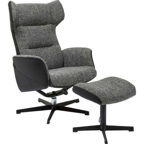 fauteuil Fauteuil + Stool Ohio Salt and Pepper Kare Design fauteuils - 79945 - Lowik Meubelen