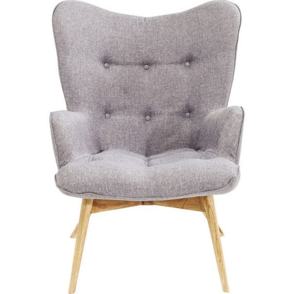 fauteuil Fauteuil Vicky Grey Kare Design fauteuils - 82684 - Lowik Meubelen