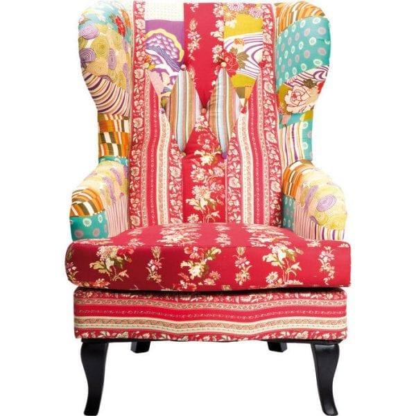 fauteuil Wing Fauteuil Patchwork Red Kare Design fauteuils - 76121 - Lowik Meubelen