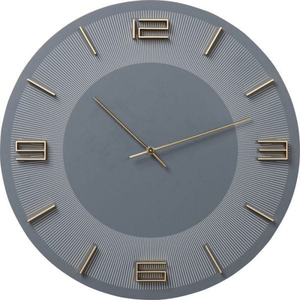Wandklok Leonardo Grey/Gold 52054 Clock-face: Medium density fibreboard (MDF) Stained-lacquered, Aluminum lacquered, Back panel: Acrylonitrile butadiene styrene, Hands: Aluminum lacquered, Battery excluded AA LR6 1,5V Mignon Kare Design
