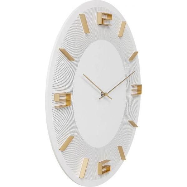 Wandklok Leonardo White/Gold 52052 Clock-face: Medium density fibreboard (MDF) Lacquered, Aluminum lacquered, Back panel: Acrylonitrile butadiene styrene, Hands: Aluminum lacquered, Battery excluded AA LR6 1,5V Mignon Kare Design