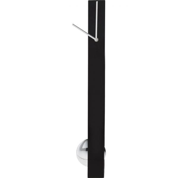 Wandklok Pendulum 32532 Modern clock with pendulum - The Pendulum clock demonstrate in an oppressive way that clocks don t always have to be round. The slim, elegant black housing stands upright like a monument. Whereas the hands are positioned at the top, a round pendulum swings below in a glossy chrome look, creating an absolute eyecatcher! Modern, elegant design combined with a certain purist touch. An all-round successful combination. For all who like the modern and clean-lined style Kare Design