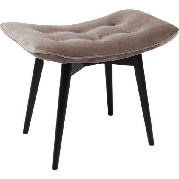Kare Design Black Vicky Velvet Grey poef 83420 - Lowik Meubelen