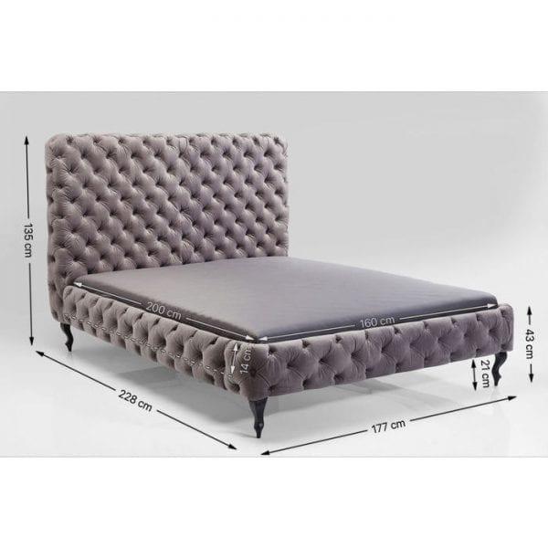 Kare Design Desire High Silver Grey 160x200 cm bed 81225 - Lowik Meubelen