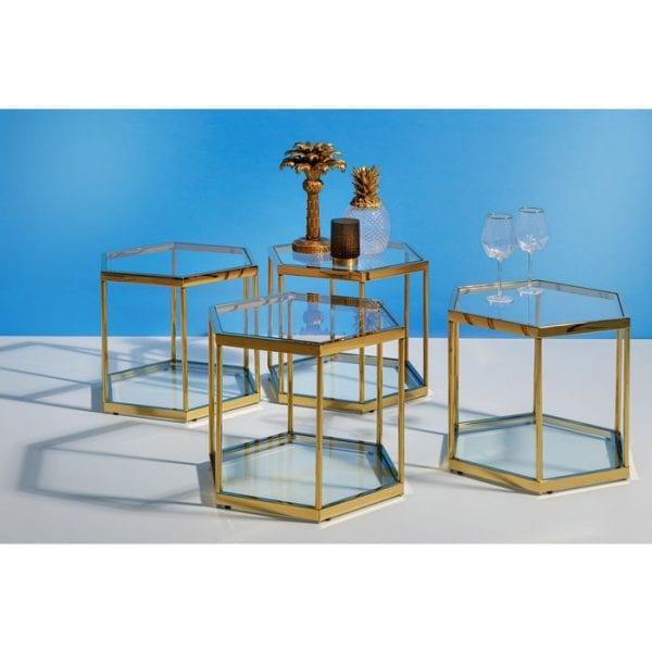 Kare Design Comb Gold 45cm salontafel 85027 - Lowik Meubelen