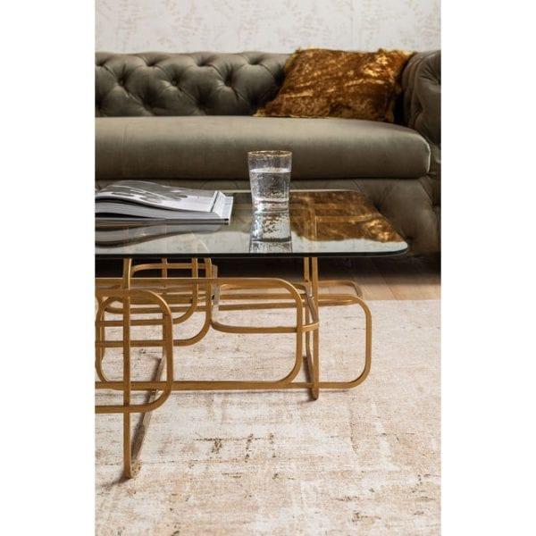 tafel Salontafel Meander Gold 140x80cm Kare Design tafels - 82370 - Lowik Meubelen